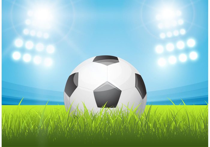 Soccer Football On Green Field With Blue Sky Background: Free Shiny Soccer Ball In Stadium Vector
