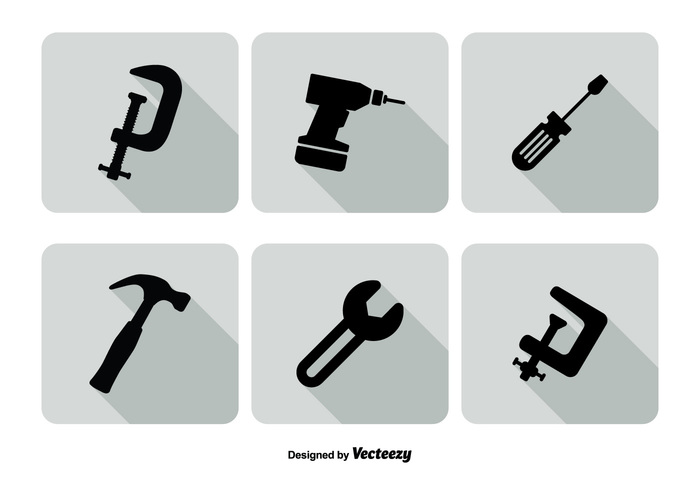 wrench work web trendy toolbox tool symbol silhouette shadow set screwdriver Rule repair renewal reconstruction project pliers planning mobile measure long shadow long instrument icon set icon hardware hammer flat equipment drill crane construction collection c clamp button Build brush black architecture accessories
