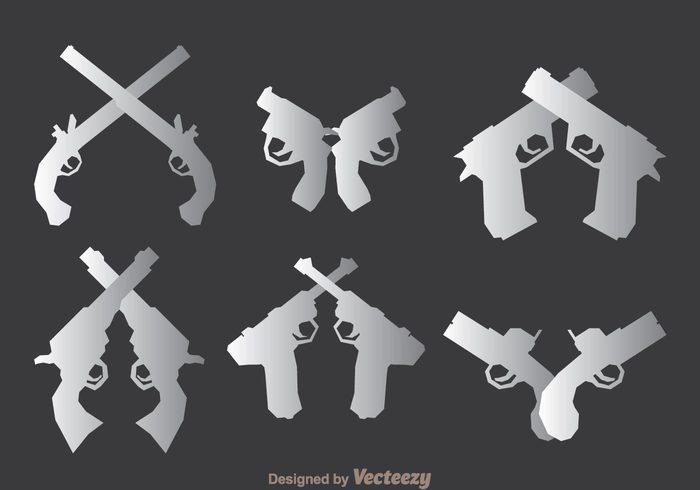 weapon silhouette revolver police pistols modern gun danger crossed guns crossed gun crossed cross crime classic bang attack