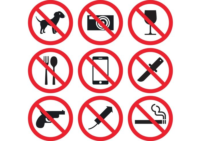 weapon warning symbol spoon smoke signs revolver Prohibition Prohibited pistol photography phone no firearms knife intoxicating handgun gun glass Forbidden food Firearm eat drink cigarette cell camera booze beverage beer ban attention Alcoholic alcohol