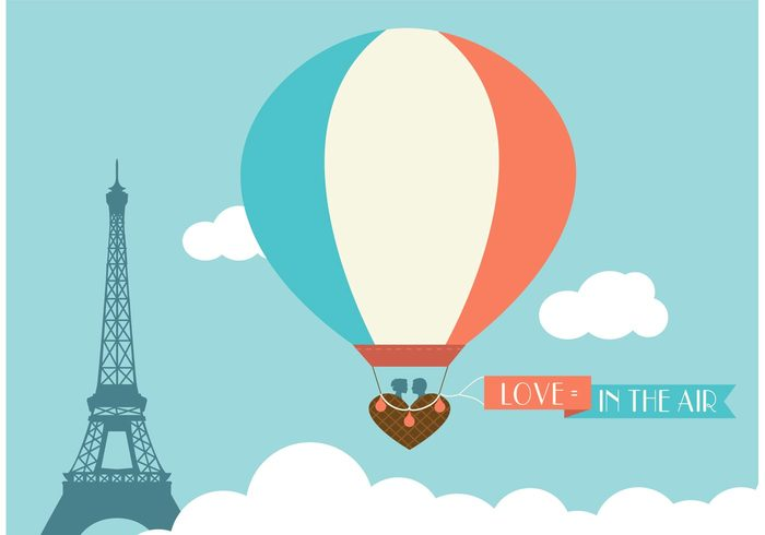 wedding vintage vector template symbol sweet romantic Paris old basket marry marriage love invitation illustration Hot air balloon Honeymoon heart groom greeting graphic france eiffel tower isolated design day date cute creative celebration brown bride bridal beautiful background anniversary