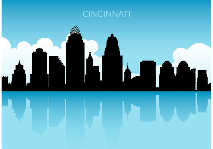 white waterfront water view vector USA urban tower skyline sky silhouette shape scenes panorama palace outlook ohio modern Metropolis landscape illustration houses horizon cityscape city cincinnati skyline vector cincinnati business building Backgrounds architecture