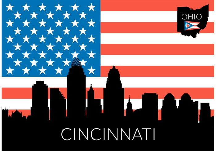 white waterfront water view vector USA urban tower skyline sky silhouette shape scenes panorama palace outlook ohio modern Metropolis landscape illustration houses horizon flag cityscape city cincinnati skyline vector cincinnati business building Backgrounds architecture
