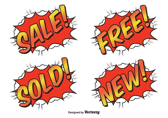 typographic text template tag store stock sold sign set savings sale promotional labels power poster pop art pop offer new message market label icon headline funny fun free explosive explosion explode discounts comic style comic labels comic label comic collection cartoon boom banner background advertising