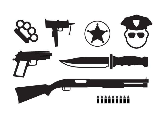 symbol shotgun sheriff set prison police pistol Officer megaphone legal Law knife Justice Jail Investigation illustration icons icon hooligans gun Criminal crime boxer badge background