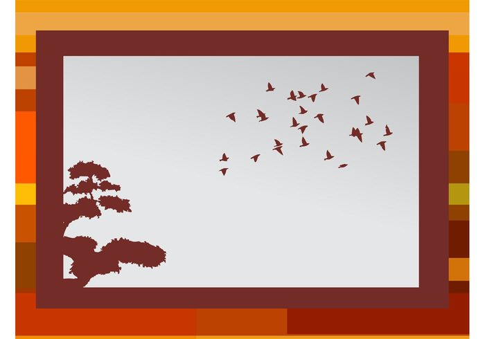 wallpaper tree silhouettes season Geometry geometric shapes flock Fall birds background autumn animals abstract