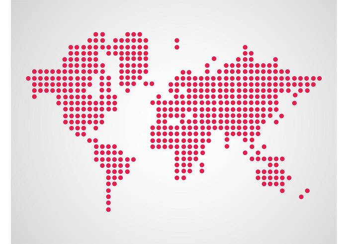 USA round outlines global geometric shapes geography Europe earth dots continents circles asia america africa abstract