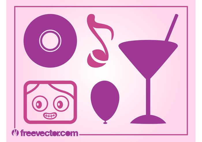 vinyl record party note music Martini glass logos icons fun drink cocktail character cassette cartoon balloon