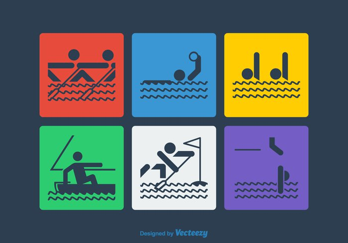 waves water polo water vibrant vector symbol swimming strength stick sport silhouette shadow set sailing rowing pool polo pictogram muscular individual illustration icon figure diving digitally design competition collection Brightly bright background