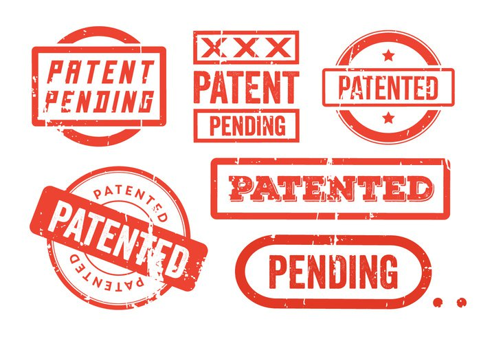 white symbol stamp sign seal rubber right red protected Property pending patented patent Law label isolated Intellectual illustration icon grungy grunge copyrighted copyright background