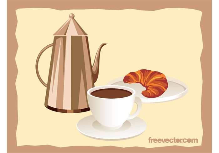 pot plate morning food eat drink dish cup croissant coffee breakfast beverage