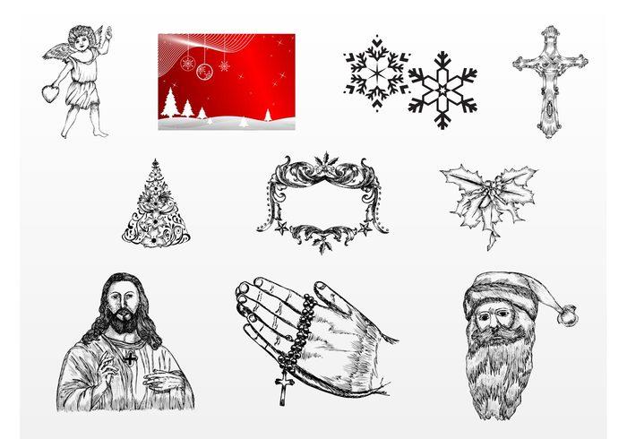 xmas snow santa claus santa praying prayer pen Messiah jesus ink ice holidays hands Flakes festive drawing Den cupid christmas Christ angel