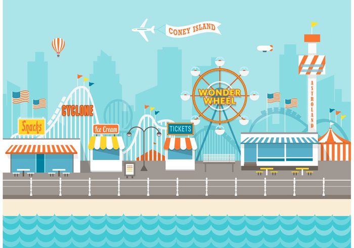 york wonder wheel wheele wheel vector urban travel tent structure sky roller park Ny new york new landscape kites joy island illustration happy fun flat ferris entertainment cyclone cute coney island coney coasters coaster cityscape city Circus carousel carnival buildings Brooklyn big top balloon background attraction park astroland astro tower architecture amusement park amusement