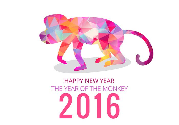 year of the monkey year vector 2016 polygonal new year new year background new year new monkey happy new year happy Chinese New Year chinease animal 2016