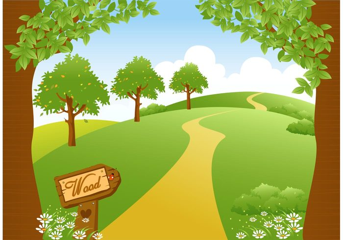 woodland path woodland wood view vector valley vacation tree travel summer spruce spring sky season scenic scenery scene rural road plant pine pathway path park Outdoor non-urban nature meadow landscape land ladybug image horizontal horizon green grassland grass forest footpath foliage flower evergreen environment drawing countryside cartoon bush background