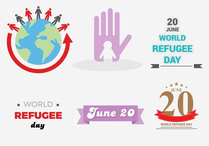 world war vector sign Rights refugee purple persecution migrant june international illustration icon humanitarian Human home hand Fight day Conflict concept community care camp background awareness attention 20