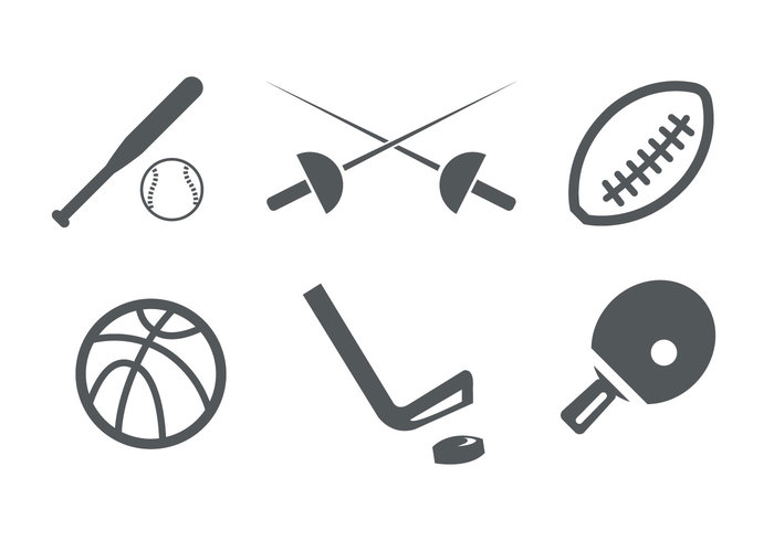 white vector table tennis symbol sword stick sports sport silhouettes sign set isolated illustration hockey football field Fencing (The Sport) fencing equipment basketball baseball ball