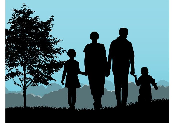 woman wife walk tree silhouette nature mountains mother man kids Husband grass girl father children boy background