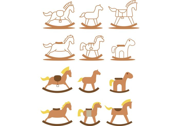 toy rocking horse toy rocking horse Rocking outline nursery kids toy horse flat childrens toy brown