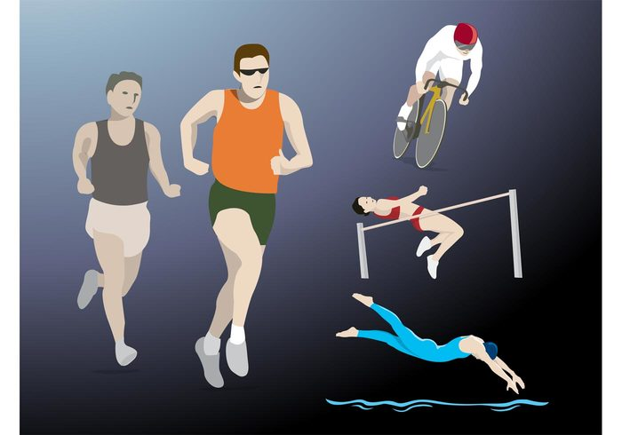 Workout swim run Olympic sports Olympic games keep fit jump jogging cycling Championships bike bicycle athletics