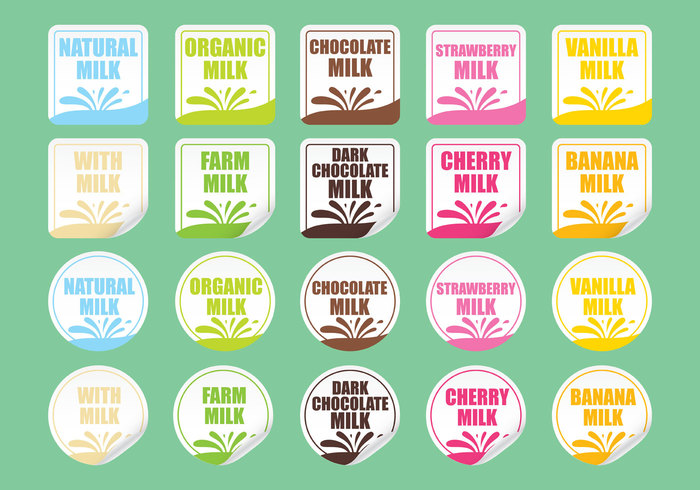 Milk vector stickers