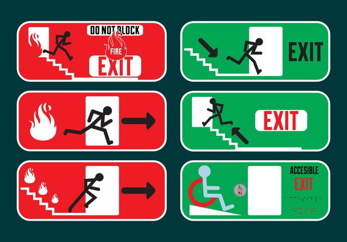 Way warning Urgency safety run red instruction green fire figure exit evacuation Escape emergency exit signs emergency exit sign emergency doorway door direction danger case block background arrow accesible