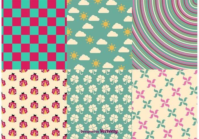 wrapping wallpaper sun spring sky seasonal season seamless pattern paper ladybug invitation holiday greeting geometric floral cartoon bug background