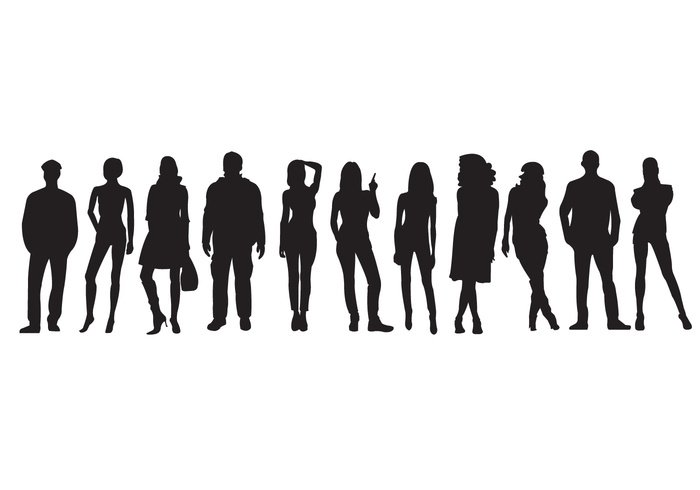 young women white teamwork team suit standing silhouettes silhouette row person people in a row people men isolated illustration icon group crowd corporate concept community casual businessman business black background Adult