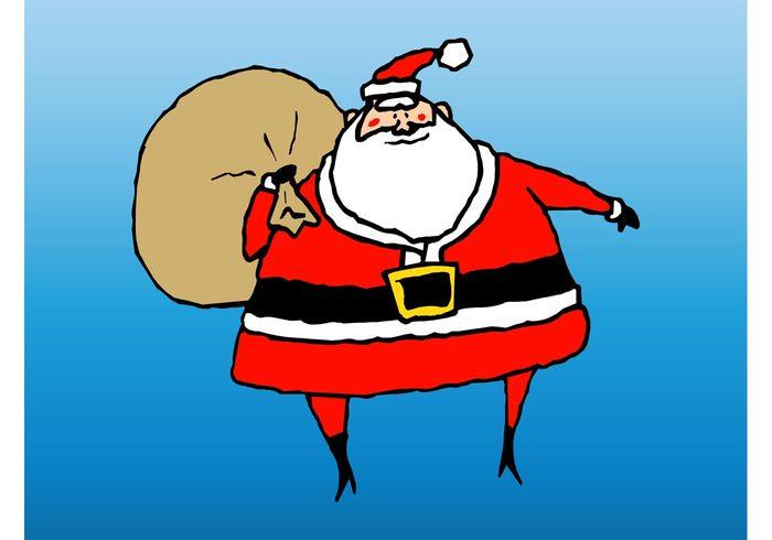 winter santa claus presents holidays funny festive decoration character celebration cartoon beard