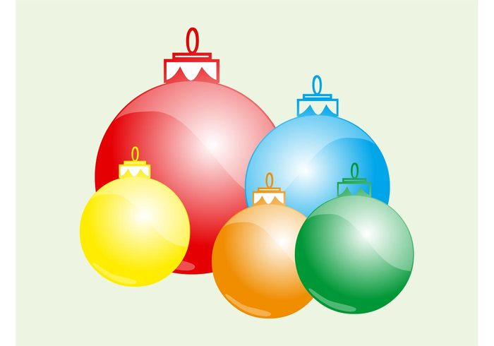 round ornaments holiday greeting card festive decorative decoration colorful christmas celebration balls