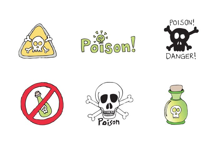 warning skull and crossbones skull and bones skull Poisonous poison label poison Mortal Lethal Kill hand drawn poison do not drink die death Dangerous danger bones