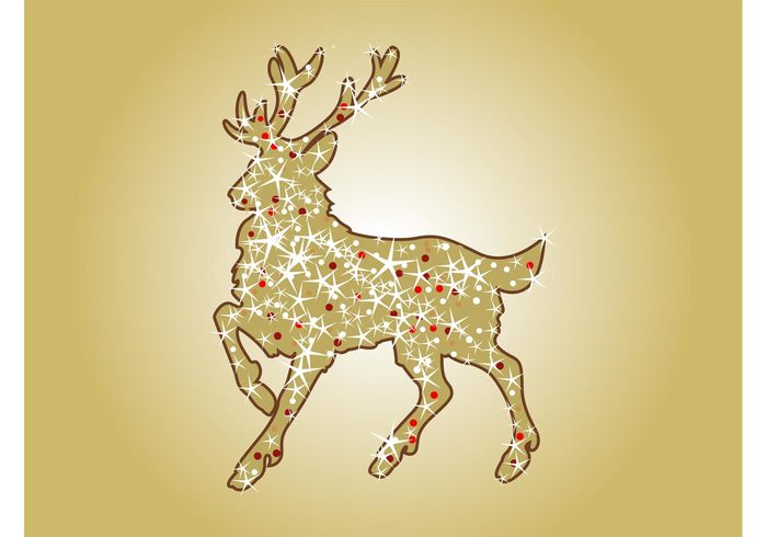 stars sparkles silhouette reindeer holiday festive deer christmas celebration antlers animal