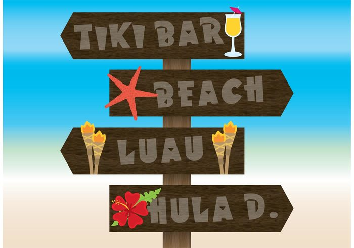 wooden sign wood sign torches tiki torch tiki sign luau Hula Hawaiian hawaii flower drink colorful cartoon board billboard for beach beach sign beach bar