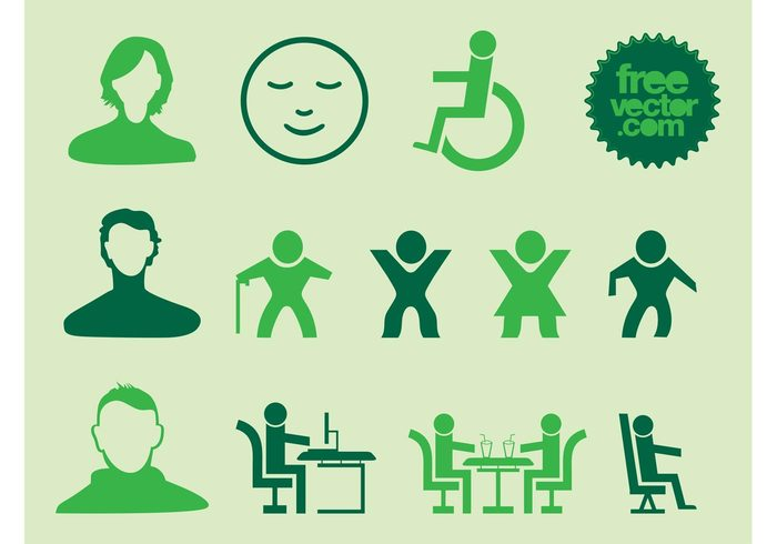 work walk symbols stickers sit signs logos icons emoticon drinks Disables desk decals avatars