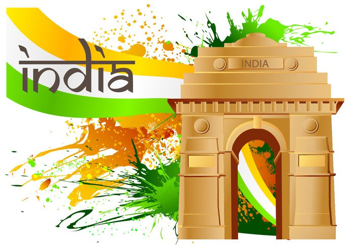 wa vector vacation state splash orange national monument indian india gate india Independence ilustration green grapich gate flag design culture beauty background asia 26th