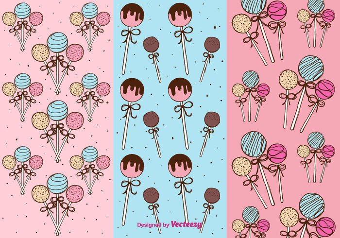yummy vector Treat Topping sweet sugar stick sprinkles set ribbons Popsicle pops pink Patterns hand drawn free food dessert delicious cute chocolate cake pops cake lollipop cake background