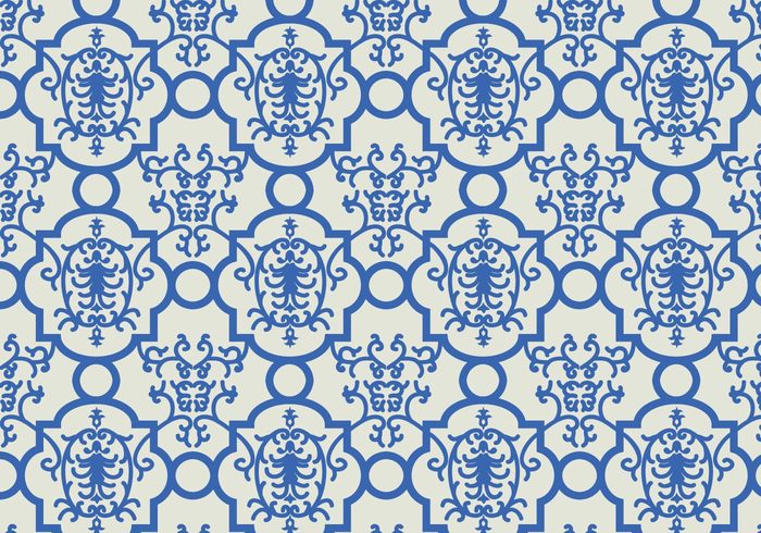 wallpaper vector trendy shapes seamless random pattern outline ornamental mosaic Geometry geometric floral decorative decoration deco blue background abstract
