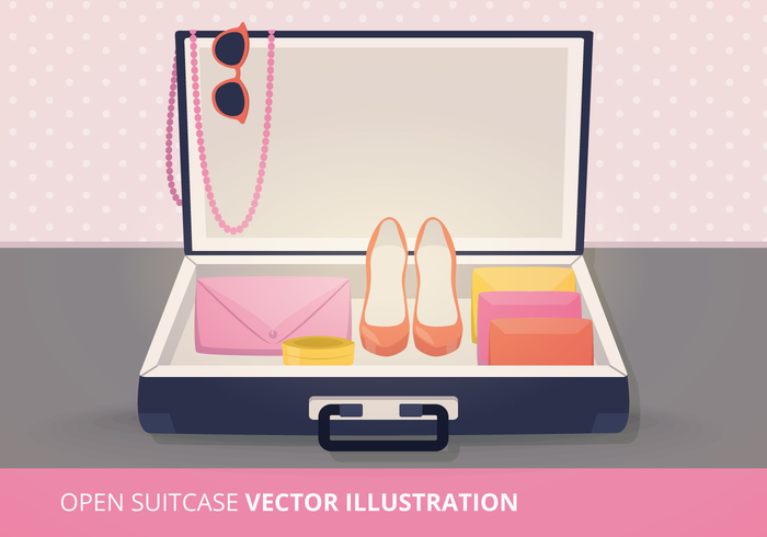 vacation trip travel tour sunglasses sun summer suitcase spring season retro packing open suitcase open object luggage Journey isolated holiday high heels heels flat concept camera briefcase baggage bag background
