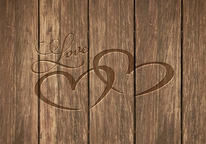 Free Heart Carved In Wood Vector Background 139159