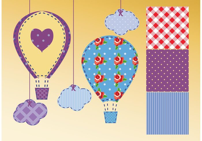 vintage stripes string stitches shower shabby chic shabby rose retro Polka pattern love kids Hot air balloon hearts happy gingham fun flying flower floral dot cute colorful clouds chic cartoon balloon background baby air