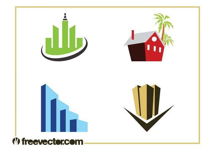 vacation stylized skyscrapers real estate logos house home Holiday home buildings architecture