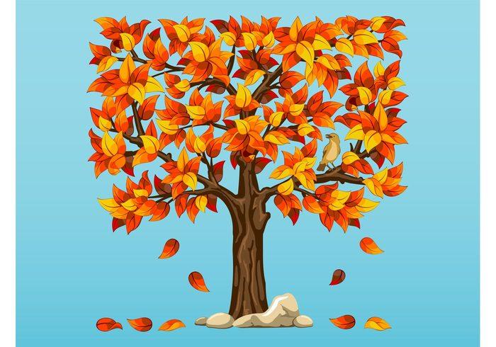 trunk stones seasons seasonal plant nature natural leaves falling leaves Fall bird bark animal