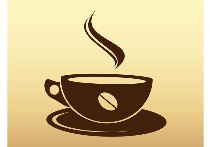 stylized stream silhouette hot drink dish cup coffee bean coffee caffeine beverage