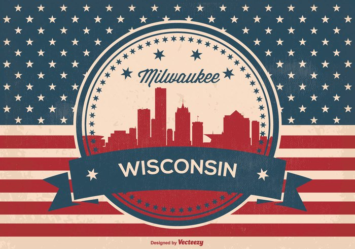 wisconsin welcome vintage view USA United Triumph travel town texture symbol stripes states star Stain spotted skyline silhouette retro red white blue red plane patriotic panorama old national milwaukee wisconsin milwaukee material history grunge Glory freedom flag famous downtown design country city skyline city canvas blue black banner background arrivals antique ancient american flag american america airport