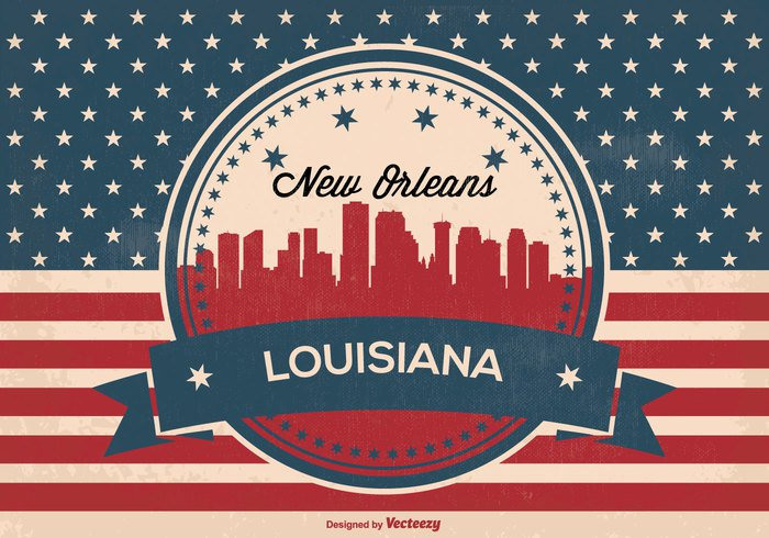 weathered vintage view USA united states United Triumph texture symbol stripes states stars star Stain spotted skyline silhouette retro red white blue red Pride pattern Patriotism patriotic paper panorama old new orleans skyline New orleans national material louisiana skyline louisiana honor history grunge Glory freedom flag famous Fame dirty design Damaged country city silhouette city canvas brown blue banner background antique ancient american flag american america