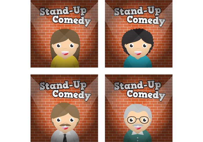 woman Theatrical story stand up comedy Stand up stand stage spotlight show play person music man live guy girl funny entertainment drama curtain continue concert comic comedy comedienne comedian character cartoon brick wall brick background boy background audience artist animation