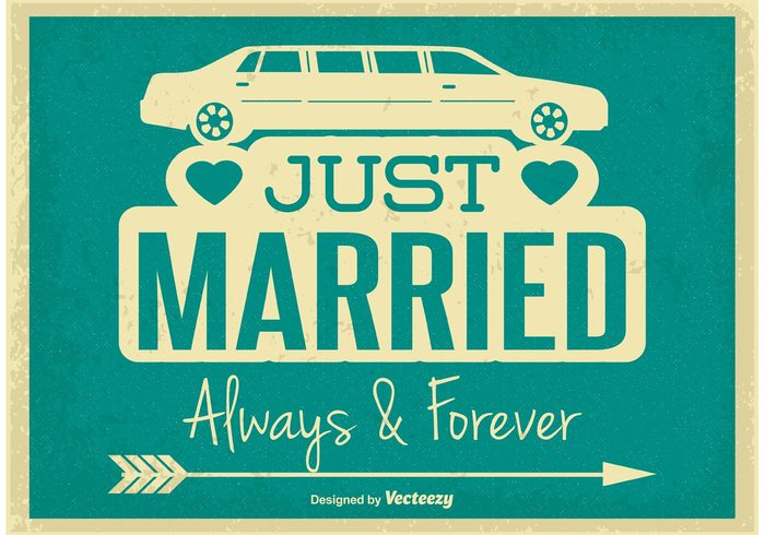 wedding vintage illustration vintage vector typography trendy template style sign retro illustration retro background retro nuptial matrimony marry marriage Lettering just married illustration just married just illustration hitched happy couple happy happiness hand graphic fun decoration day couple colorful color chevron celebration card banner background anniversary alphabet