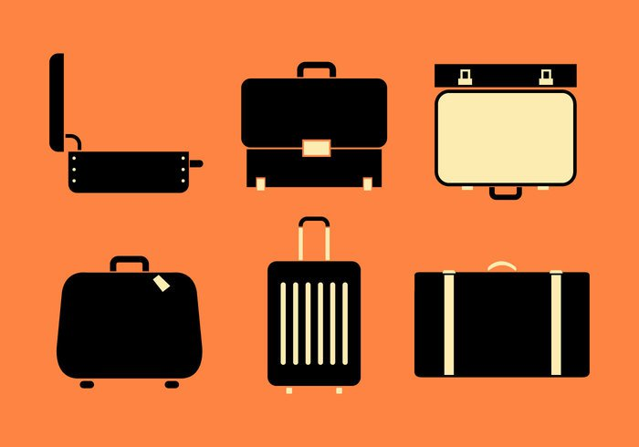 vintage travel top symbol suitcase sign set portfolio open suitcase open office object luggage isolated illustration flat design case business briefcase brief baggage bag background
