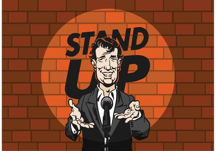 up Theatrical story Stand up stand stage spotlight show red play person man male live laughter Laugh guy funny entertainment cool dude concert comic comedy character cartoon brick wall brick background brick background audience artist