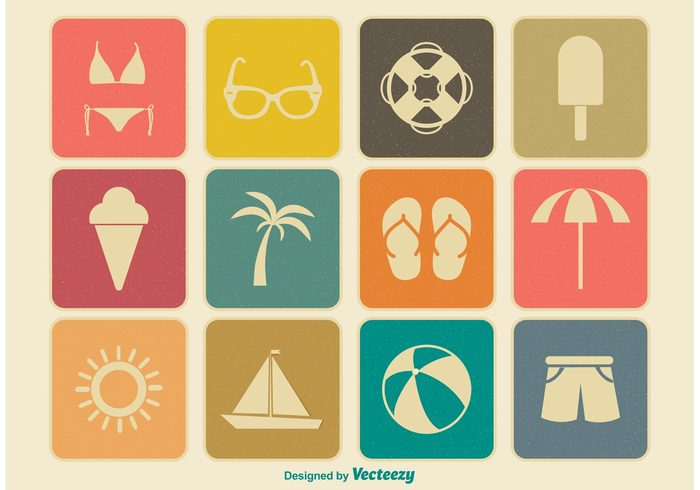 vintage vacation trunk travel tourist tourism symbol sunglasses sun summer icons summer silhouette shorts set season sea retro rest Relaxation relax red Recreation pictogram palm tree old leisure icon icecream hot holidays heat grungy grunge graphic Flop flip flops flip drink collection ball